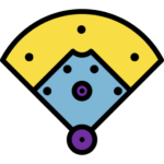 Figure 1: The black dots are the positions of team members in a baseball field